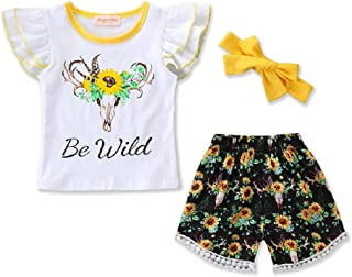 Sun Flower Infant Baby Girl Boy Outfits Sunflower Print Romper +Floral Shorts +Headband Summer Outfit Set