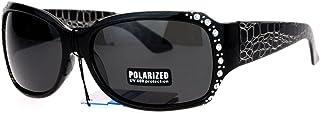 Anti Glare Polarized Womens Rhinestone Plastic Rectangular Butterfly Sunglasses