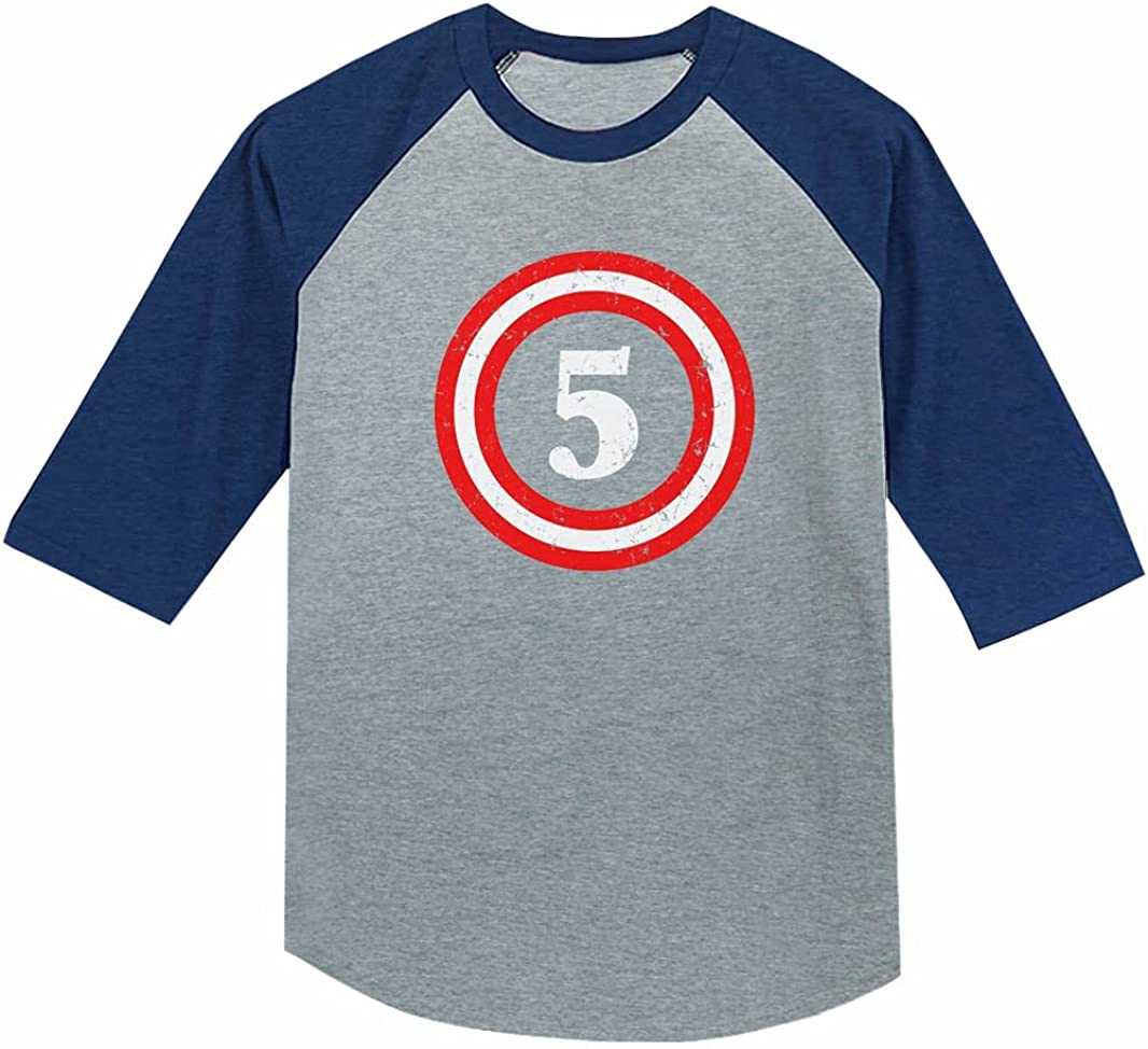 Tstars Captain 5th Five Year Old Birthday Gift 3/4 Sleeve Baseball Jersey Toddler Shirt