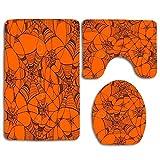 NA Ragnatela su tappetini da Bagno Arancioni Set tappeti 3 Pezzi per tappeti da toletta Include Tappetino Contorno e Coperchio, tappetini Antiscivolo per Doccia Vasca Ragnatela su Arancio
