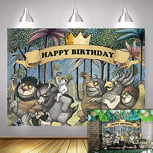 Fanghui 5x3FT Where The Wild Things are Theme Party Backdrop King of The Wild Things Boys Happy Birthday Party Banner Supplies Baby Shower Dress Up Party Photo Background Booth Props