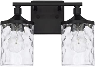 Capital Lighting 128821MB-451 Homeplace/Colton - Two Light Bath Vanity, Matte Black Finish with Clear Water Glass
