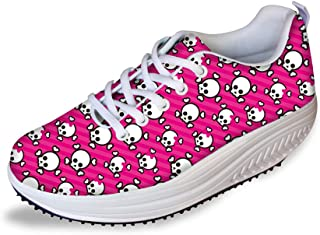FOR U DESIGNS Women's Exclusive Cute Skull Design Platform Work Out Shoes Swing Wedges