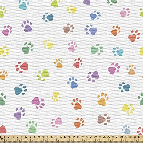 ABAKUHAUS Katze Gewebe als Meterware, Footprints Katzen Hunde Pfoten, Schön Gewebten Stoff für Polster und Wohnaccessoires, 1M (148x100cm), Mehrfarbig
