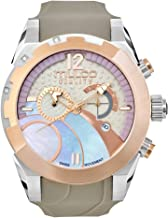 Mulco Gravity iOS Quartz Swiss Chronograph Movement Women's Watch | Mother of Pearl Sundial with Rose Gold and Mother of Pearl Accents | Silicone Watch Band | Water Resistant