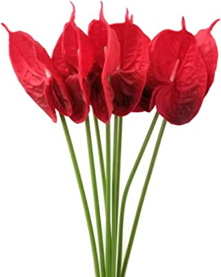 """PACK OF 5 USA SELLER 24/"""" LARGE Real Touch artificial Anthurium flowers"""