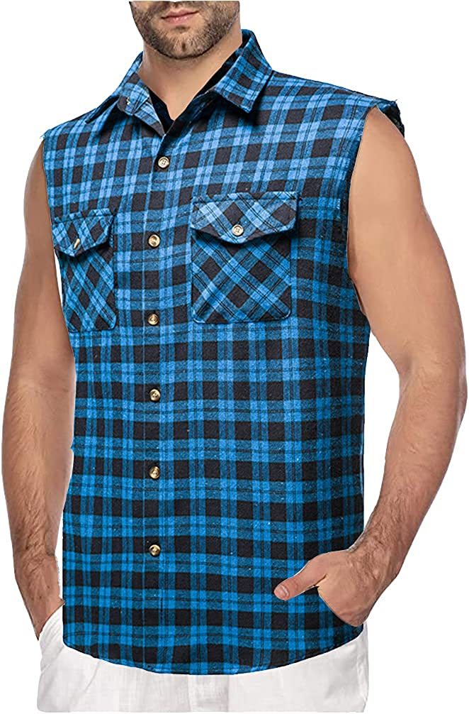 Eworldwing Men's Button-Down Flannel Plaid Dress Shirt Sleeveless Tops Pocket Slim Fitted Tank Fashion Vests