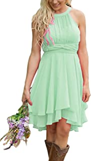 Short A Line Halter Chiffon Prom Homecoming Bridesmaid Dresses