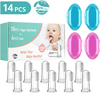 Silicone Baby Finger Toothbrush with Case Set Infant Training Teeth Brush Toddler First Teething Soft Babies Toothbrushes Oral Cleaning Massager 10PCS+4PCS Case