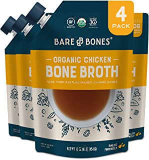 Bare Bones Chicken Bone Broth for Cooking and Sipping, Pasture Raised, Organic, Protein and Collagen Rich, Keto Friendly, ...