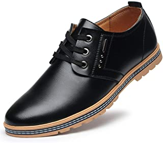 Bin Zhang Business Oxford for Men Formal Dress Shoes Lace Up Microfiber Leather Flat Anti Slip with Texture Solid Color Split Joint Office (Color : Black, Size : 7 UK)