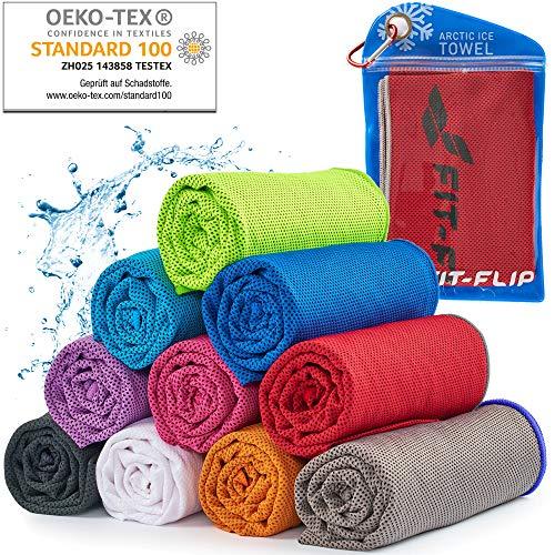 Cooling Towel für Sport & Fitness, Mikrofaser Handtuch/Kühltuch als kühlendes Handtuch für Laufen, Trekking, Reise & Yoga, Cooling Towel, Farbe: rot-Grauer Rand, Größe: 100x30cm