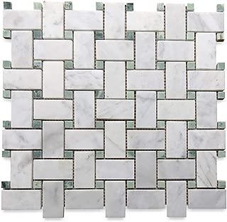 Carrara White Italian Carrera Marble Basketweave Mosaic Tile Green Dots 1 x 2 Honed