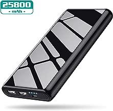 VOOE Power Bank 25800 mAh, Batteria Portatile Cellulare Caricabatterie Portatile 2 USB Uscita Caricatore Portatile Carica Veloce Batteria Esterna per Cellulare,Tablet - Nero Brillante