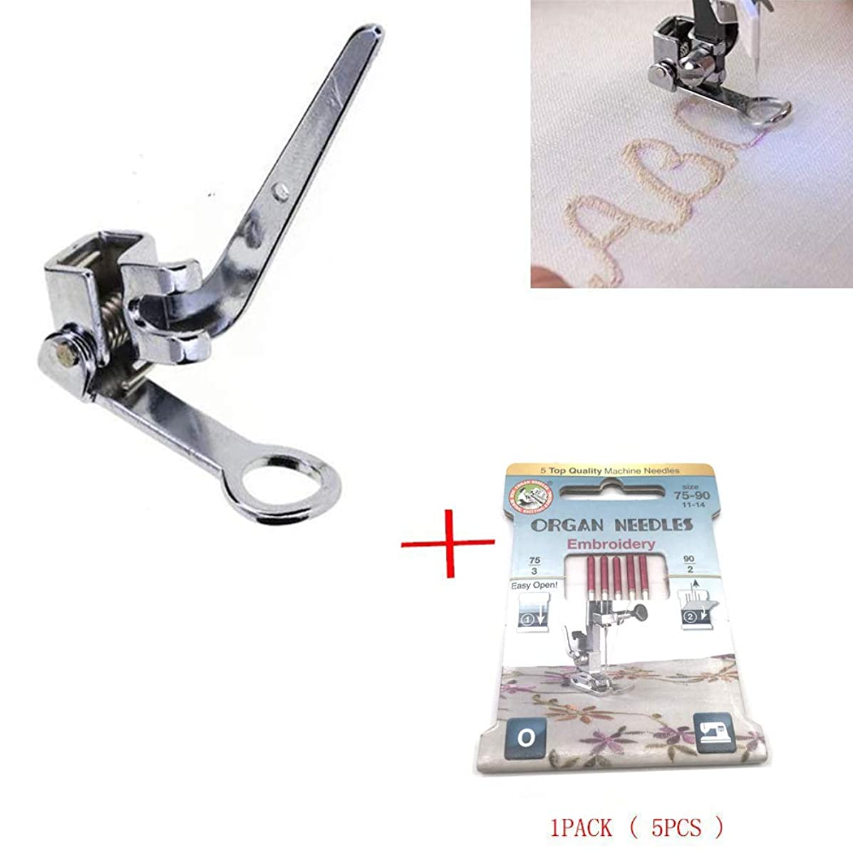 LNKA #55417 Metal Low Shank Presser Feet Embroidery Darning Foot for Singer Brother Toyota #006016008 with 1pack Embroidery Needle