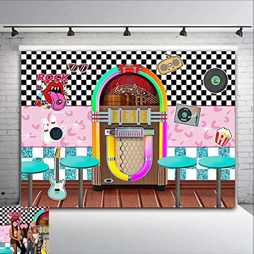 CSFOTO 8x6.5ft Disco Backdrop Disco Ballroom Night Club Neon Music 80s Birthday Party Background for Photography Disco Theme Bday Photo Backdrop