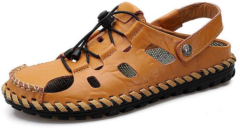 Breathable Hole shoes Non-Slip Hollow Dad shoes Men's Leather Sandals (color   Brown, Size   43)