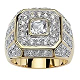 Palm Beach Jewelry Men's 14K Yellow Gold Plated Square Cut Cubic Zirconia Octagon Ring Size 9
