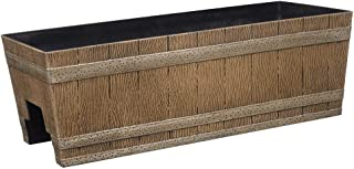 wooden fence flower boxes