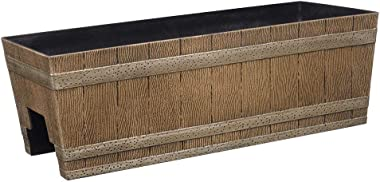 "Classic Home and Garden 1073D-265R Jameson planters, 24"" - Deck Rail, Distressed Oak"