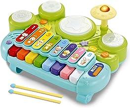 fisica 3 in 1 اسباب بازی آلات موسیقی ، اسباب بازی های صفحه کلید پیانو الکترونیکی Xylophone درام مجموعه - اسباب بازی های یادگیری با چراغ برای کودک و کودک نو 1 1 3 3 سال پسران و دختران