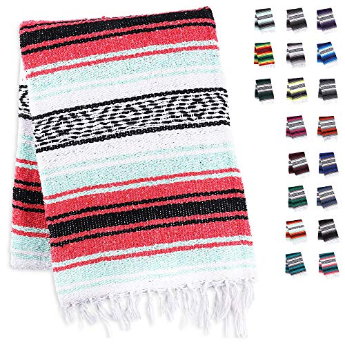 Handcrafted Mexican Blankets, Artisanal Handwoven Serape Blanket, Authentic Falsa Blanket, Great As Beach Blanket, Camping Blanket, Picnic Blanket, Outdoor Blanket, Boho Throw Blankets, Mint Coral