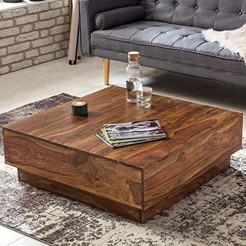 Furniture Flip Sheesham Wood Square Center Coffee Table for