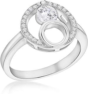 Tuscany Silver 女士纯银镀铑方晶锆石 12 毫米双圈戒指