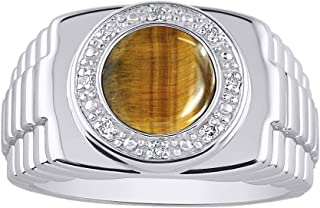 RYLOS Designer Style Ring with Oval Shape Cabochon Gemstone & Genuine Sparkling Diamonds in Sterling Silver .925
