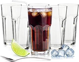 Sendez 6 Longdrinkgläser 425ml Caipirinha Gläser Kaffeegläser Teeggläser Cocktailgläser Mit Löffel