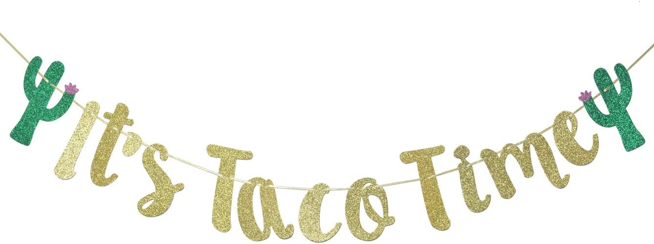 It's Taco Time Banner Bunting Sign for Mexican Fiesta Themed Birthday Bachelorette Wedding Party Decor Props Backdrop (Gold Glitter)