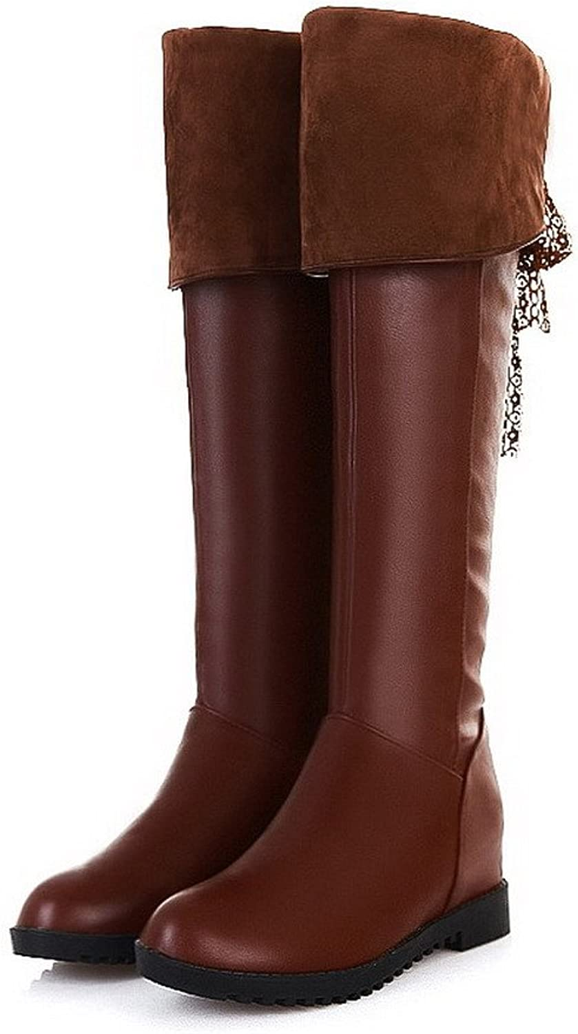 AmoonyFashion Womens Closed Round Toe Kitten Heels PU Soft Material PU Solid Boots with Heighten Inside, Brown, 7.5 B(M) US