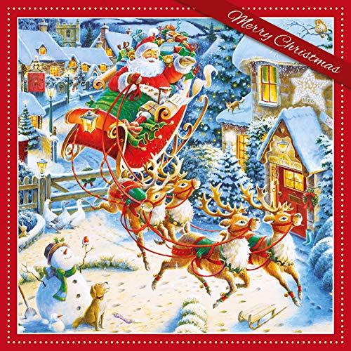 Carte Blanche 3D-Weihnachtskarte mit Weihnachtsmann und Rentier, bunt