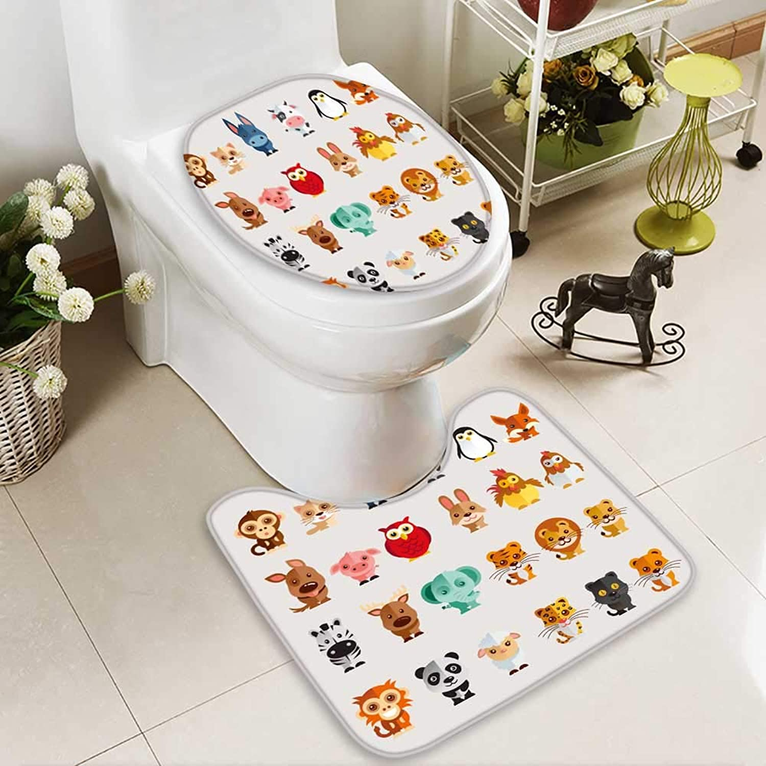 Analisahome 2 Piece Toilet lid Cover mat Set Funny Animal Vector Illustration icon Set Washable Non-Slip