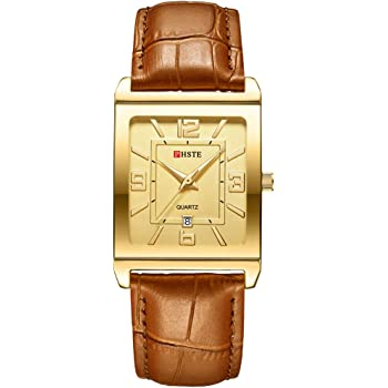 PHSTE Men's Square Analog Quartz Watch with Date Waterproof Calfskin Leather Band Business Wrist Watches