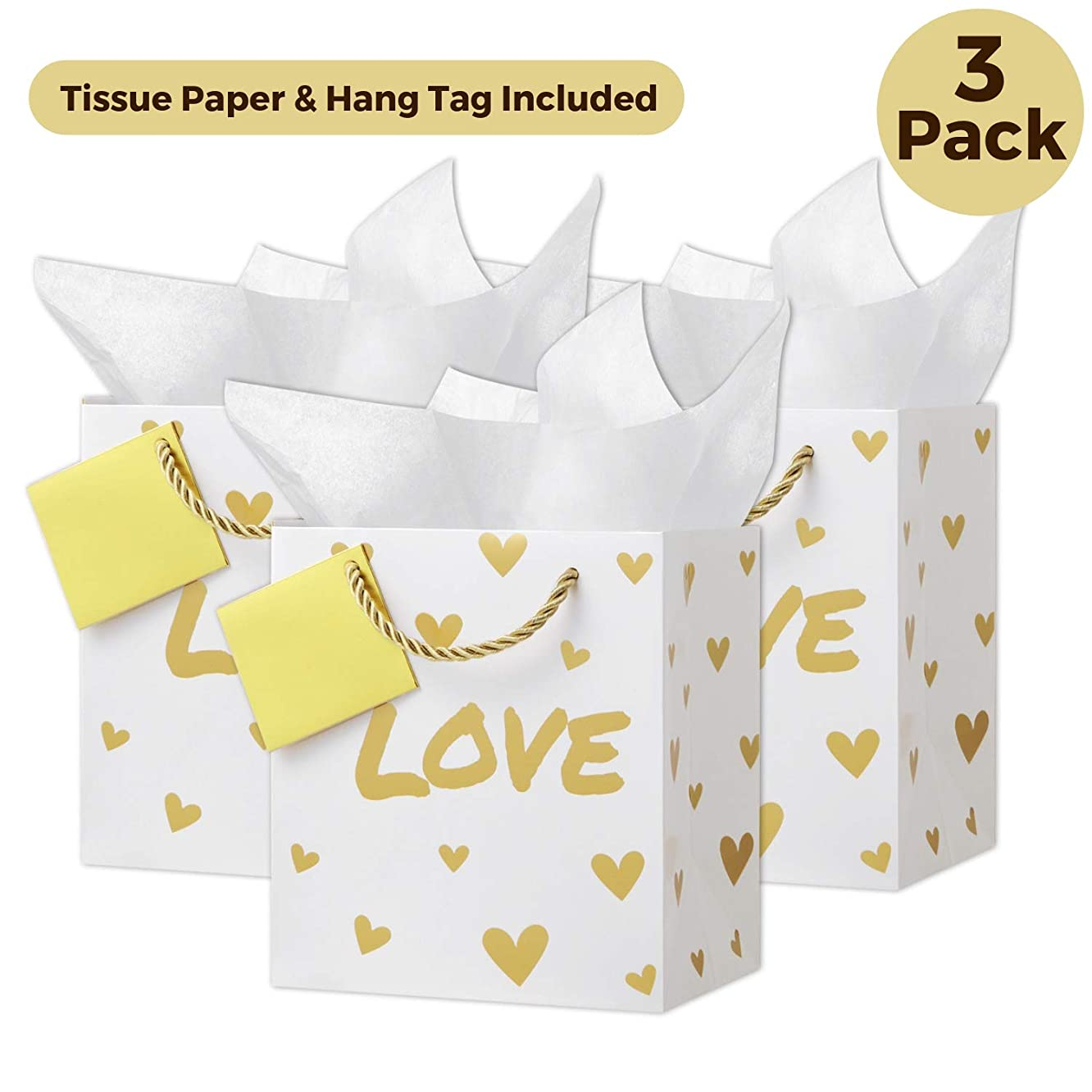 Premium Metallic Gold Foil Bridesmaid Gift Bags with Handles (Small, 3 Pack, Love), Tissue Paper, Note Tag, Rope Style Handles, for Baby Shower, Bridal Shower, Wedding Gift Bags, Engagement