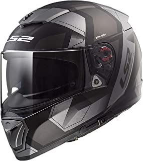 LS2 390-1324 Full Face Motorcycle Helmet (Black, L)