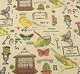Tela para costura o tapizar vintage mariposas al corte por metros. 1 unidad es 0.50 m. x 1.45 m 2 unidades 1 m x 1.45 m cortinas, colchas, cojines, caravanas, sillas. de CHIPYHOME