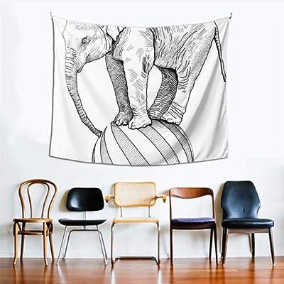 Decoración de la sala de estar en la pared Blanco y negro Elefante retro Arte de la pared Decoración de la cocina 60x51 pulgadas (152x130cm) Arte de la pared Decoración del hogar Poliéster para la sa