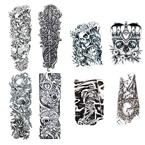 WOWOSS 8 Blätter Full Arm temporäre Tattoos, extra temporär Tätowierung schwarz Klebe Tattoo Körperkunst Aufkleber Fake Arm Tattoos Sticker für männer Frauen