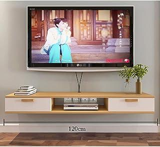 Flotantes estantes de madera flotante TV Gabinete, Unidad de montaje en pared de entretenimiento, con 2 de almacenamiento,...