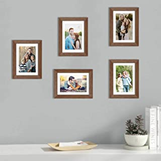 Art Street Set of 5 Brown Wall Photo Frame, Picture Frame for Home Decor with Free Hanging Accessories (Size -6x8 Inchs)