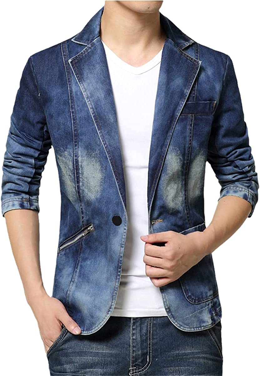 DFLYHLH Denim Suit Jacket Men's Slim Denim Jacket Single Button Casual Denim