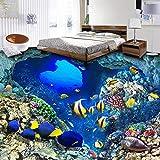 Papel pintado de foto 3D mundo submarino peces tropicales pegatinas de suelo de vinilo baño impermeable autoadhesivo PVC suelo Mural-250 * 175cm