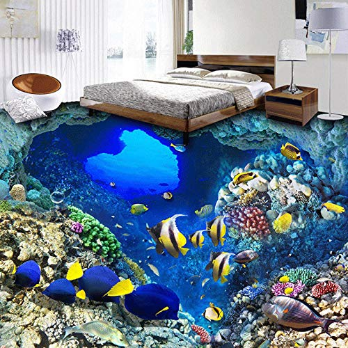 Papel pintado mural autoadhesivo personalizado para suelo 3D personalizado 3D mediterráneo banco de peces papel pintado impermeable para baño Papeles de pared de paisaje 3D para revestimientos de pa