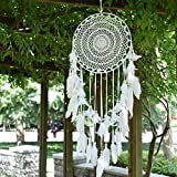 "Aglife Large White Boho Dream Catcher with White Feather Hanging Wedding Decoration Ornament Gilf, Circle 13.8"",36.2"