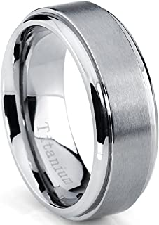 Metal Masters Co. 8MM High Polish, Matte Finish Men's Titanium Ring Wedding Band Sizes 7 to 15