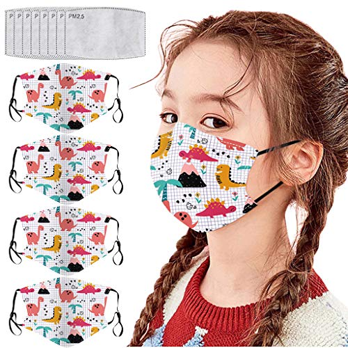 Eaylis 4 Stück Kinder Face Mask Einweg 3-lagig Atmungsaktiv Face Cover, Outdoor Anti-Staub Bandana Loop Cartoon Druck Face Halstuch für Jungen und Mädchen für Laufen, Radfahren