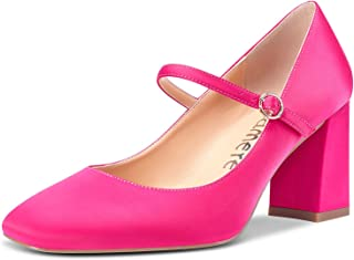 Castamere Donna Mary Jane Scarpe col Tacco Quadrata Tacco a Blocco 7.5CM High Heels
