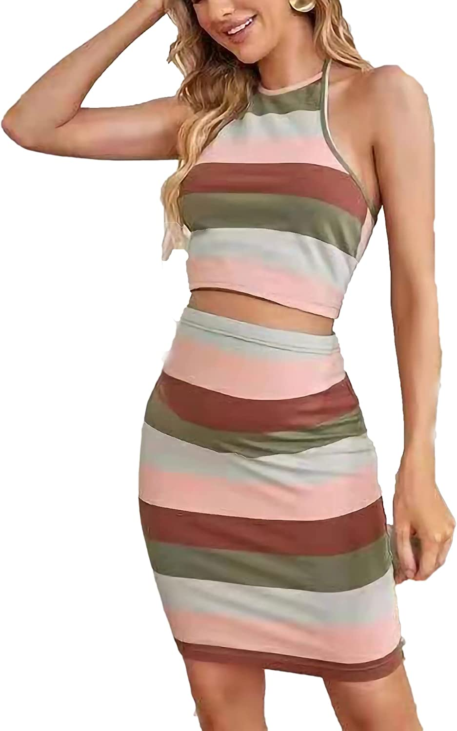 Women's 2 Pieces Striped Halter Crop Top and Mini Skirt Summer Outfit Set